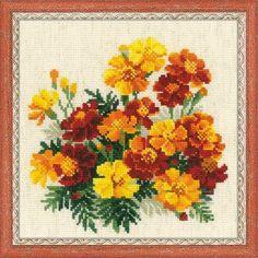 Набор для вышивания крестом 1556 Бархатцы от РИОЛИС  Cross stitch kit Marigolds by RIOLIS