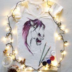 Koszulka ręcznie malowana z koniem, kosmos,hand painted t-shirt horse watercolor, tattoo, water, sketch, galaxy, universe
