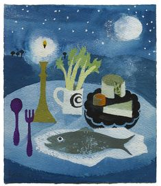 Spoon, Fork and Fish on Table - Mary Fedden 2014 Painting & Drawing, Watercolor Paintings, Art Grants, Oil Pastel Art, Still Life Art, Love Images, A Table, Mary, Fish
