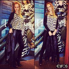 O friozinho está chegando e a nossa inspiração de hoje é Look Lança Perfume l blusa moletom estampa animal + legging c/ aplicação de couro e jaqueta resinada. #lplovers #lancaperfume #fallwinter14 #animalprint #black #elfos