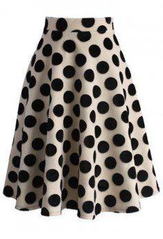 Polka Dots Velvet A-line Midi Skirt - Bottoms - Retro, Indie and Unique Fashion