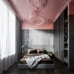 Interior design bedroom - 101 Pink Bedrooms With Images, Tips And Accessories To Help You Decorate Yours – Interior design bedroom Home Design, Design Ideas, Design Inspiration, Bedroom Inspiration, Interior Inspiration, Design Art, Pink Bedrooms, Modern Bedrooms, Master Bedroom Design