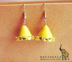 HASTAKALA lemon yellow Quilling Jumka Code#22 hastakala.india@gmail.com — at chennai.