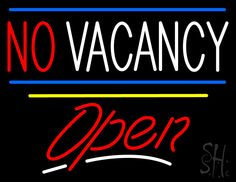 No Vacancy Open Yellow Line Neon Sign 24 Tall x 31 Wide x 3 Deep, is 100% Handcrafted with Real Glass Tube Neon Sign. !!! Made in USA !!!  Colors on the sign are Blue, Red, White and Yellow. No Vacancy Open Yellow Line Neon Sign is high impact, eye catching, real glass tube neon sign. This characteristic glow can attract customers like nothing else, virtually burning your identity into the minds of potential and future customers.