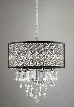 Bubble Shade Crystal and Chrome Flushmount Chandelier by The Lighting Store