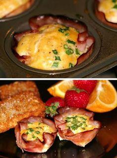 Sencillas copas de jamón y queso para el desayuno