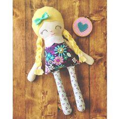 "Handmade 18"" Little Miss Rag Doll  www.stitchedboutique.com"