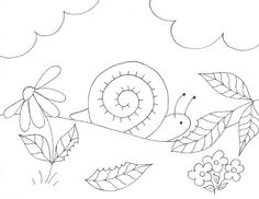 Snail Coloring Page | Wee Folk Art