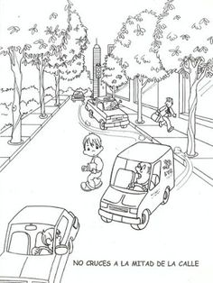 Do not cross into the street Learning Arabic, Fun Learning, Preschool Worksheets, Preschool Crafts, Kindergarten Class, Picture Story, Drawing For Kids, Coloring For Kids, Health And Safety