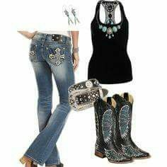 Black tank, Boots, jeans w/ turquoise accents