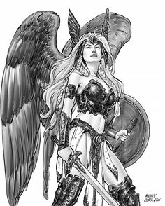 Valkyrie by Manny Clark #valkyrie #mithology #fantasy #illustration #mannyclark2016 #nordic #female #tattoo