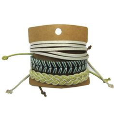 White Leather Lemon Cord Bracelets Set GBR10040