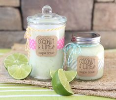 Coconut Lime Sugar Scrub.  Easy to make and smells soooo good.  Leaves  your skin feeling so slilky, soft, and smooth!