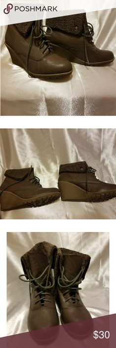 Brown wedge booties These are are brand new never worn chocolate brown wedge booties. They are very warm and great for the winter months. I don't have the original box they came in but they have been stored well. forever Shoes Ankle Boots & Booties