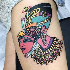mood tattoo ᘛ egyptian nefertiti Pop Art Tattoos, Tattoo Flash Art, Tattoo Drawings, Grace Tattoos, Life Tattoos, New Tattoos, Tatoos, Psychedelic Tattoos, Feminist Tattoo