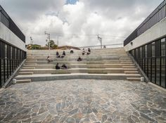 Completed in 2015 in San Vicente, Colombia. Images by Alejandro Arango . San Vicente Ferrer Community Center This Community Center is part of a new network of small format public buildings which have been planned by the. Stairs Architecture, Landscape Architecture, Landscape Design, Interior Architecture, Landscape Stairs, Design Commercial, Hydrangea Landscaping, Mulch Landscaping, Landscaping Ideas