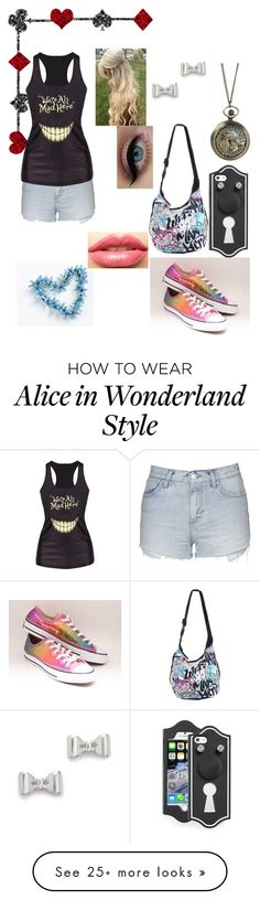 """we're all mad here"" by lets-try-not-to-panic on Polyvore featuring Topshop, Converse, Marc by Marc Jacobs, Disney, LASplash, women's clothing, women, female, woman and misses"
