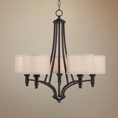 """La Pointe 26"""" Wide Oatmeal Linen Shade Chandelier -  Dining Room Possibility?  26"""" high.  Normal $300 on sale til May 26  for $149.  Shades are oatmeal linen, might want"""