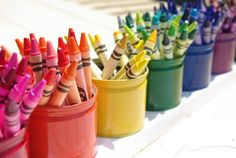Love this idea with little color-coded tins! Perhaps with gel pens, though! (: