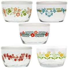 Vintage Flower Storage Bowls Gift Set of 5 - Kitchen Storage - Kitchen & Linens Kitchen Storage, Food Storage, Style Floral, Kitchenware, Tableware, Vintage Storage, Kitchen Linens, Kitchen Dishes, Dot And Bo