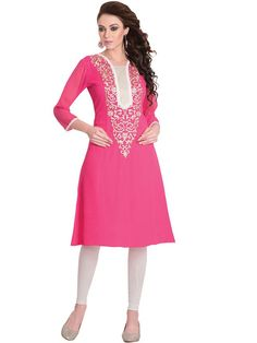 Majestic Pink Coloured Embroidered Kurti - Kurtis