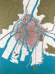 Tiffany Chung is noted for her cartographic drawings, sculptures, videos, photographs, and theater performances in relation to history and cultural memory. Textile Design, Textile Art, Space Map, Button Canvas, Hiroshima, City Art, Map Art, Plans, Paper Design