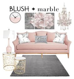 """""""Blush and Marble"""" by bria-cutrer ❤ liked on Polyvore featuring interior, interiors, interior design, home, home decor, interior decorating, ESPRIT, Park B. Smith, Stupell and homedecor"""
