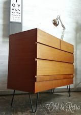 Vintage Retro Mid Century Chest Of Drawers Teak Danish era on hairpin legs nice! Retro Furniture, Bedroom Furniture, Hairpin Legs, Chest Of Drawers, Bed Frame, Danish, Hair Pins, Teak, Retro Vintage