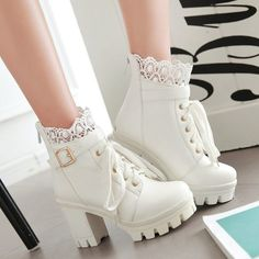 Kaufe Autumn and Winter New Fashion Women's Thick High Heel Ankle Boots Ladies Leather Lace Up Martin Boots Sweet Lace Student Shoes Bottes Botines Plus Size bei Wish - Freude am Einkaufen Lace Up Heel Boots, Lace High Heels, Platform Ankle Boots, Platform High Heels, High Heel Boots, Leather Ankle Boots, Womens High Heels, Leather And Lace, Heeled Boots
