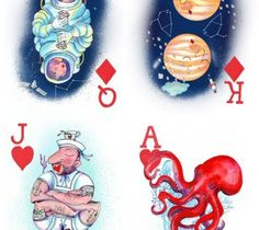 Illustrated playing cards by Rachel Morris illustrator