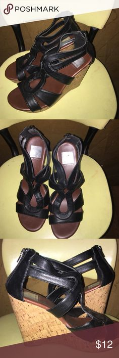 Dolce Vita for Target wedge black sandals Women's SZ 7 wedge sandals. Zip up in back. Super cute!! No worn areas. EXCELLENT Condition. Dolce Vita Shoes Sandals