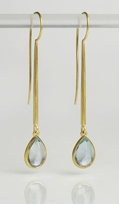 18 carat drop earrings with pear-shaped acquamarine