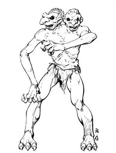 Giant two-headed troll, a cross between a troll and an ettin (Jeff Dee, AD&D Fiend Folio, TSR, Dungeon Master's Guide, Advanced Dungeons And Dragons, Sword And Sorcery, Cool Drawings, Troll, Old School, Coloring Books, Fantasy Art, Nerd