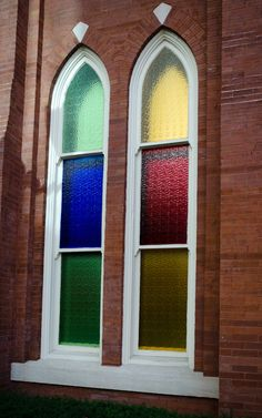 Stained glass windows at the Ryman Auditorium, the original home to the Grand Ole Opry in Nashville, Tenn.