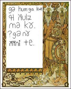 A card in gyâ-zym-byn (Jim Henry's conlang).
