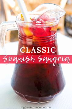 Classic Spanish Sangria This easy recipe for traditional Spanish sangria is made with Rioja wine, brandy, triple sec, orange juice, lemon juice and sliced fruit. Traditional Sangria Recipe, Spanish Sangria Recipe, Red Sangria Recipes, Red Wine Sangria, Fall Sangria, Sangria Cocktail, Margarita Recipes, Easy Fruit Sangria Recipe, Sangria Recipe With Orange Juice