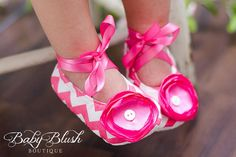 Hot Pink Chevron Baby Shoes Soft Ballerina by babyblushboutique