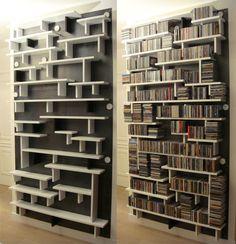 Cd Storage Furniture, Ikea Dvd Storage, Dvd Storage Tower, Movie Storage, Dvd Regal, Etagere Design, Home Library Design, Audio Room, Bookshelf Design