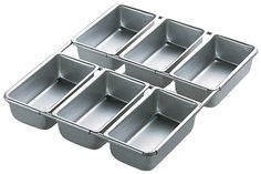 Wilton Aluminum Mini Loaf Pans These ones are six cavity, 1/2 x 2 1/2 x 1 1/2 inch deep (larger than the petit)