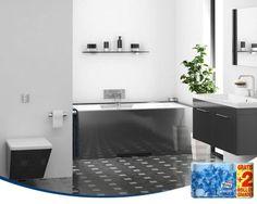 El negro es un color muy elegante para nuestro baño. Pero es importante combinarlo con blancos, y colores claros, para no perder luminosidad.