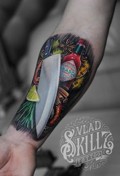 Tattoo Vlad Skilz - tattoo's photo In the style Realistic, Male, Daggers, Fo Forarm Tattoos, Body Art Tattoos, Mini Tattoos, Picture Tattoos, Tattoo Photos, Koch Tattoo, Essen Tattoos, Cooking Tattoo, Vegetable Tattoo