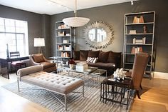 I own a chocolate brown couch just like this one. Ideas for decorating around it.