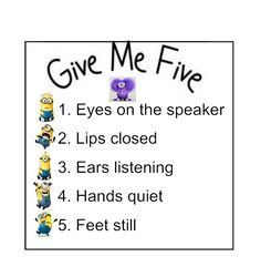 "Minion ""Give Me Five"" Class Poster Gotta keep my minions in line."