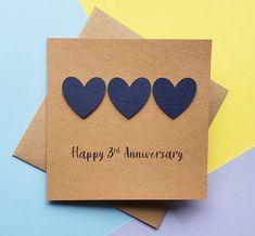3rd anniversary card Leather wedding anniversary card Black | Etsy Husband Anniversary Card, Homemade Anniversary Cards, Happy 3rd Anniversary, Wedding Anniversary Cards, Wedding Cards Handmade, Greeting Cards Handmade, Romantic Cards, Valentine Day Cards, Boyfriends