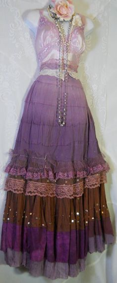 """Purple gypsy  dress ruffles mauve beige lace  by vintageopulence Add a light-lavender colored loose crochet bolero jacket & I think we've found the perfect """"I'm growing up but not quite an adult"""" dress for her 16!"""