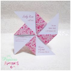 Birth Announcement Petit Moulin à Fleurs Roses ... pinwheel shape with info on the plain paper side of the arms ... fun!