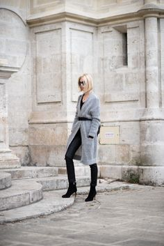 Cozy grey cardigan and leather pants outfit