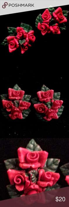 "Vintage red rose green leaf screw-back earrings Delightfully fun vintage rose earrings. Made from red plastic, with the green of the leaves painted on. These are marked ""Japan"" Probably from the 1950's or early 60's. A lovely patina on the metal screw-back, and a tiny bit of paint loss, though not visible unless searching for it. Overall in great vintage condition! A perfect Valentine's Day gift! Vintage Jewelry Earrings"