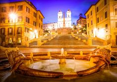 See an illuminated Rome on a nighttime sightseeing tour. Start by meeting you guide at Piazza di Spagna. Then, head off for a nighttime stroll around Rome. Rome Tours, Italy Tours, Rome Travel, Italy Travel, Rome Spanish Steps, Must See Italy, Chateau Saint Ange, Cool Places To Visit, Travel