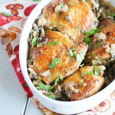 Chicken thigh with a lightened up mushroom, onion and garlic sauce- Elegant, flavorful weeknight meal in 30 minutes.